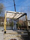 Prefabricated DIY Pergola made of 150x150mm wooden bars made in Russia 03