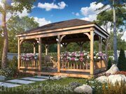 Besedka russian style prefabricated wooden pergola russian made for sale 01