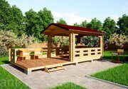 Besedka russian style prefabricated wooden pergola russian made for sale 02