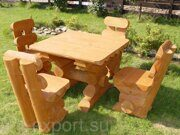 Russian style wooden table with benches made in russia 02