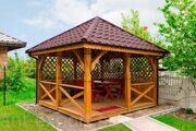 Besedka russian style prefabricated wooden pergola russian made for sale 03