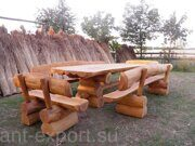 Russian style wooden table with benches made in russia 04