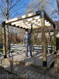 Prefabricated DIY Pergola made of 150x150mm wooden bars made in Russia 09