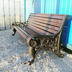 russian wooden park bench with iron cast sides 02