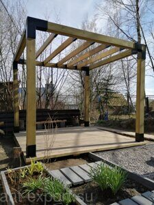 Prefabricated DIY Pergola made of 150x150mm wooden bars made in Russia 07