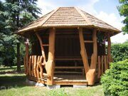 Besedka russian style prefabricated wooden pergola russian made for sale 05