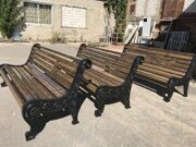 russian wooden park bench with iron cast sides 04