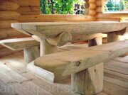 Russian style wooden table with benches made in russia 06