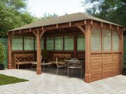 Besedka russian style prefabricated wooden pergola russian made for sale 04