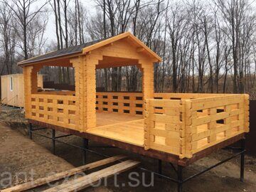 Besedka russian style prefabricated wooden pergola russian made for sale 14